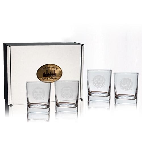 HarvardVeritas Crystal Engraved Old Fashion Glass (Set of 4)