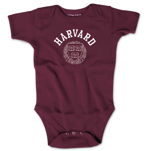 Harvard w/Seal Short Sleeve Maroon Infant Onsie