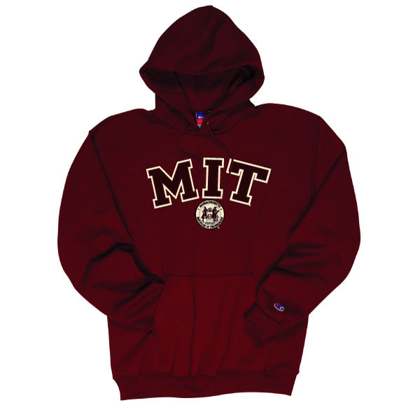 MIT Applique Seal Hooded Sweatshirt in Grey and Maroon