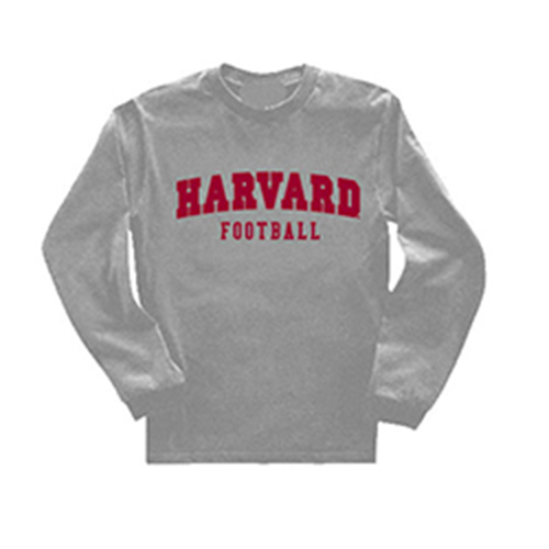 Long Sleeve Harvard  Grey Football T Shirt