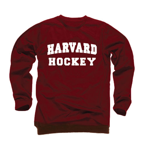 Long Sleeve Harvard Hockey Maroon T Shirt