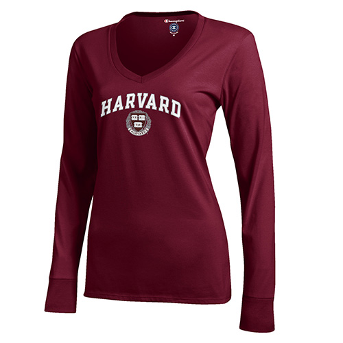 Women's Harvard Long Sleeve V-Neck Tee Shirt