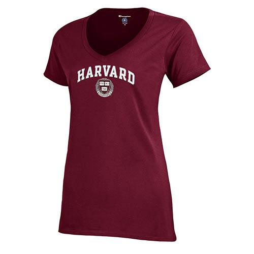 Harvard Women's V-Neck Short Sleeve Tee Shirt