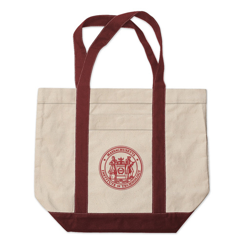 MIT w/ Seal Medium Embroidered Tote Bag