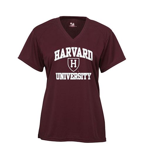 Women's Harvard Maroon V-Neck Performance Tee Shirt