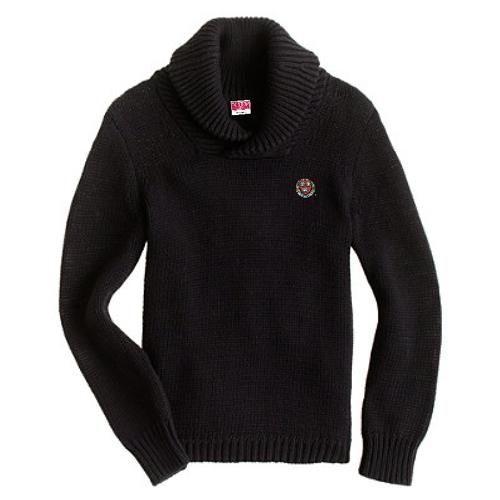 Harvard Black Shawl Neck Lambswool Sweater
