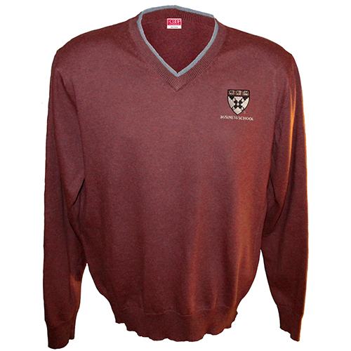 Harvard Business School  V- Neck Tipped Maroon Sweater