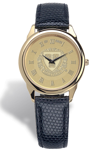 Harvard Men's Leather Strap Medallion Wristwatch