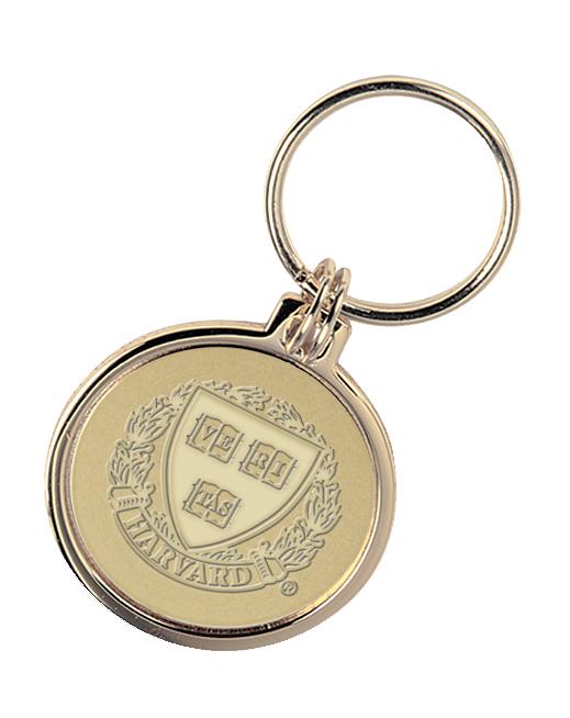 Harvard 23K Gold-Plated Brass Key Ring