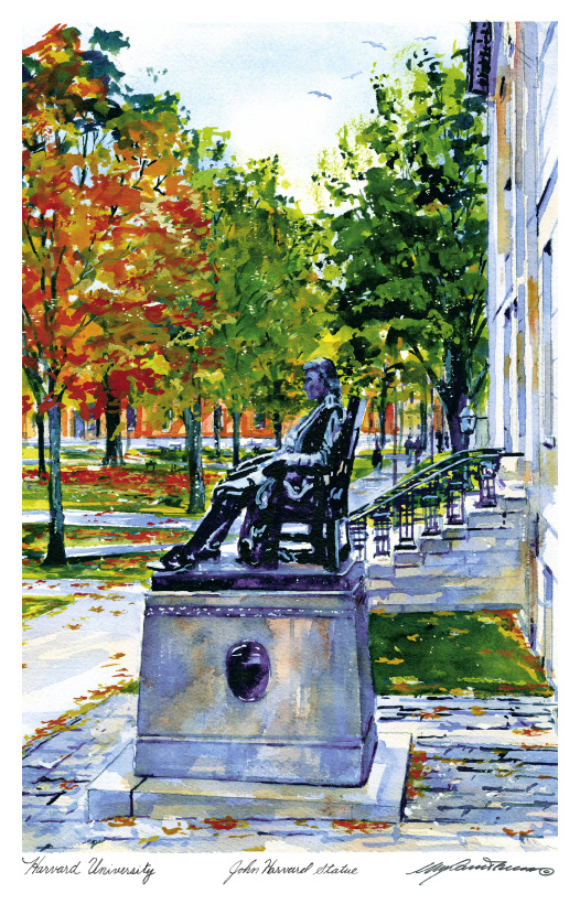 John Harvard Statue in Watercolor