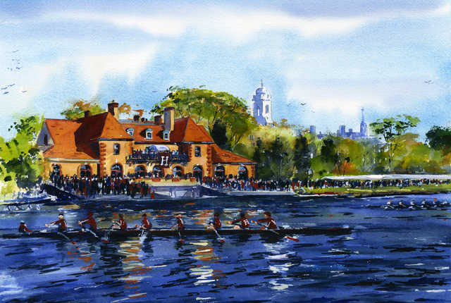 Weld Boathouse in Watercolor by Mark Waitkus