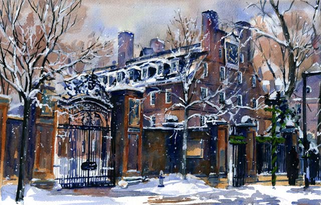 Johnston Gate Winter Gate at Graduation Watercolor by Mark Waitkus