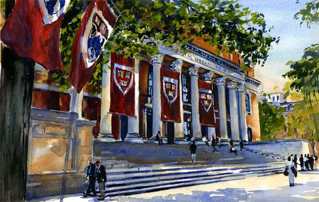 Widener Library Watercolor by Mark Waitkus