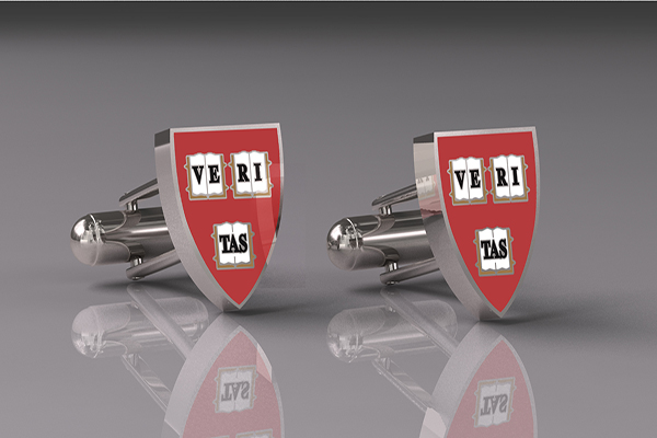Harvard Silver Veritas Shield Cufflinks (CUFW-WHAR4)