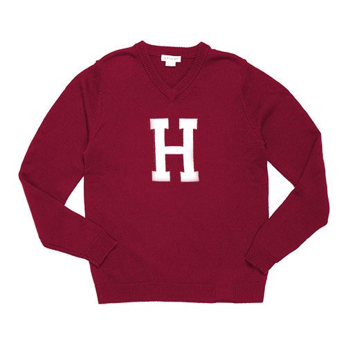 The H  College V Neck Neck Harvard Crimson Sweater
