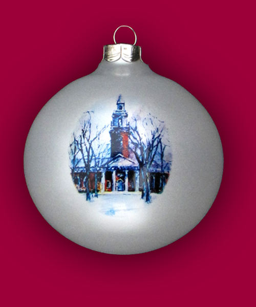 Hand-Painted Harvard White Ornament