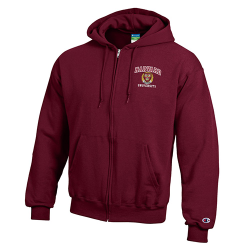 Harvard Champion Applique Seal Full-Zip Hooded Sweatshirt