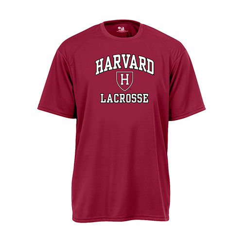 Harvard Maroon Performance Lacrosse Tee Shirt with Athletic Shield
