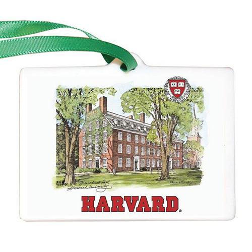 Harvard Scene Porcelain Ornament