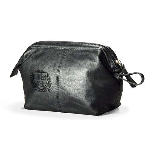 Black Veritas Leather Travel Pouch