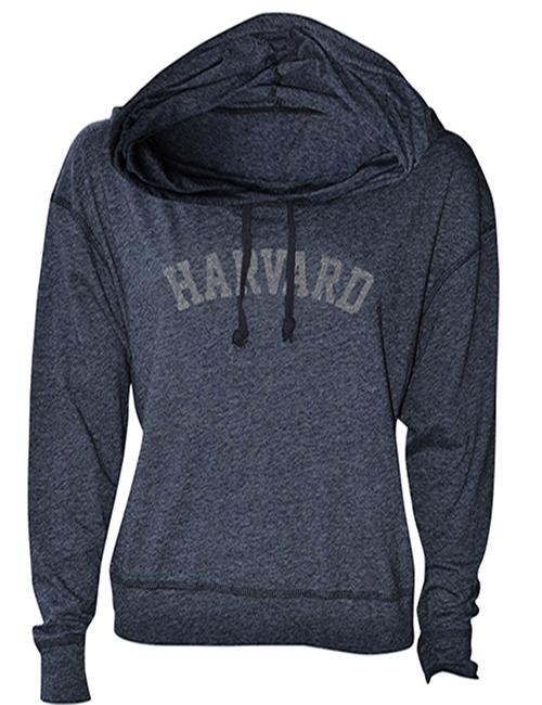 Women's Fit Harvard Luxe Slub Black Hooded Sweatshirt