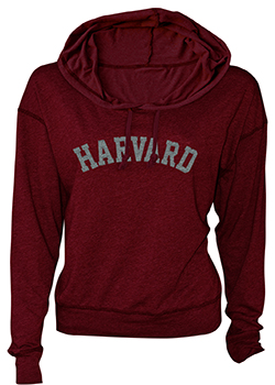 Women's Fit Harvard  Luxe Slub Maroon Hooded Sweatshirt