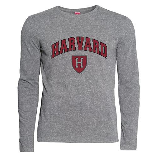 Harvard Athletic Shield Graphite Performance Long Sleeve T Shirt