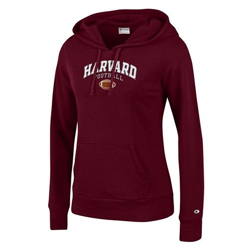 Women's Fit Maroon Football Hooded Sweatshirt