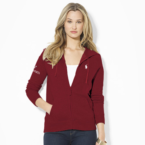 Ralph Lauren Women's Harvard Maroon Full Zip Sweatshirt