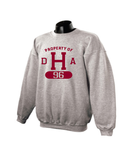Property of DHA Class of 1996 Heavyweight Grey Crew Sweatshirt
